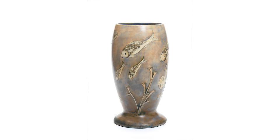 William Moorcroft 'Fish' a large salt-glazed footed vase, circa 1930