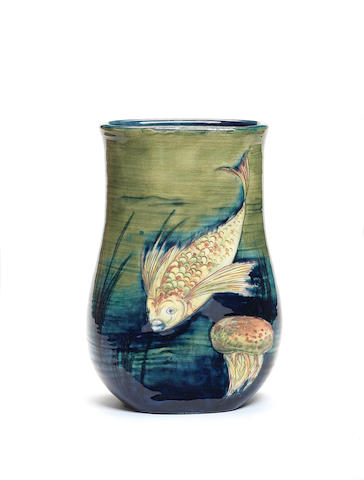 William Moorcroft 'Fish and Jellyfish' a rare dimpled vase, circa 1935