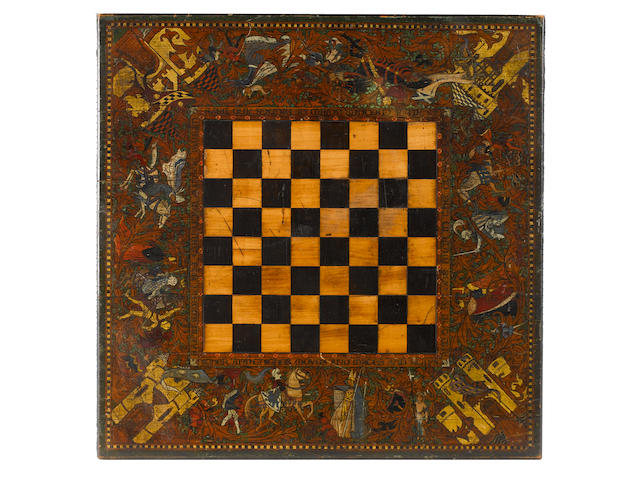 A penwork decorated Gothic Revival chess board, Scotland, circa 1865,