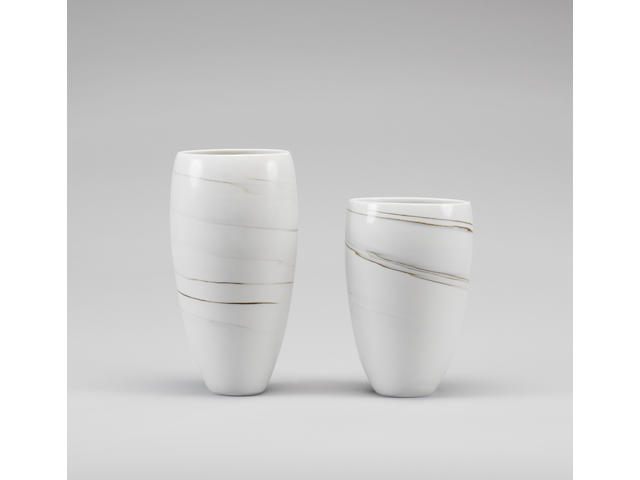 Joanna Constantinidis two Vases, circa 1980 Heights 26.6cm (10 1/2in.) and 21.5cm (8 1/2in.)