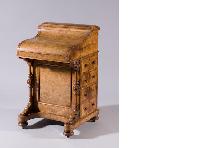 A md-Victorian burr-walnut davenport desk