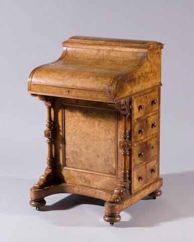 A md-Victorian burr-walnut davenport desk