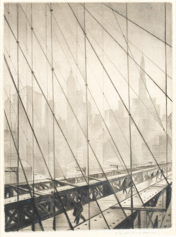 Christopher Richard Wynne Nevinson A.R.A. (British, 1889-1946) Looking through Brooklyn Bridge Drypoint, 1920-22, on cream laid paper, with margins, signed in pencil, 234 x 174mm (9 1/4 x 6 5/6in)(PL)