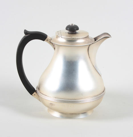 A silver hot water pot By J B Chatterley and Sons Ltd, Birmingham, 1948,