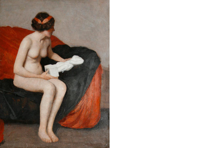 William McGregor Paxton (American, 1869-1941) Seated nude with sculpture