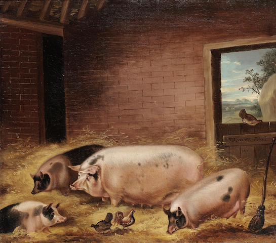 Thomas Weaver (British, 1774-1843) Four pigs with chickens in a barn