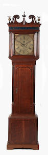 A George III oak and mahogany crossbanded longcase clock,