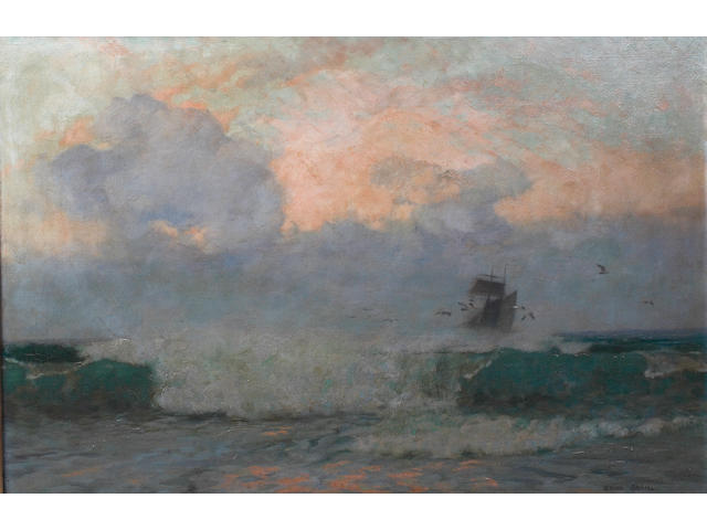 Adrian Stokes (British 19th/20th Century) Coastal scene with waves breaking on the shore, a sailing ship beyond, on canvas, signed lower right, 60 x 91cm See colour illustration centre pages
