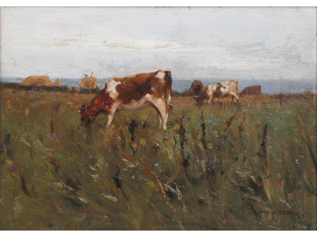 Sir John Alfred Arnesby Brown (British, 1866-1955) Cattle grazing in a meadow, on board signed lower right, 24.5 x 34.5cm See colour illustration centre pages