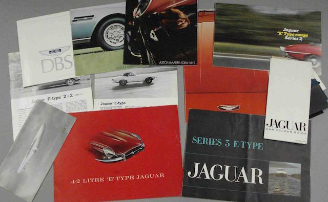 A lot  of  Jaguar E Type sales literature,