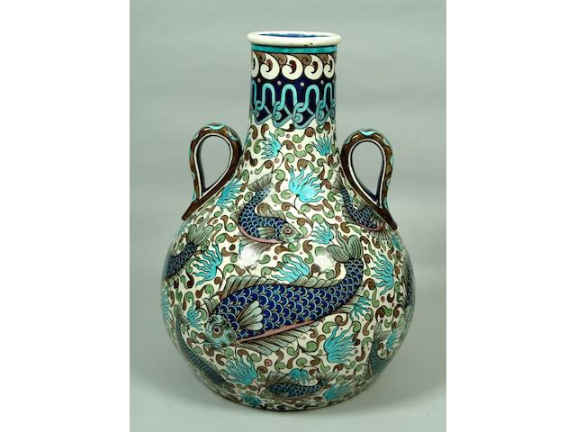 A massive and impressive Burmantofts Persian style vase