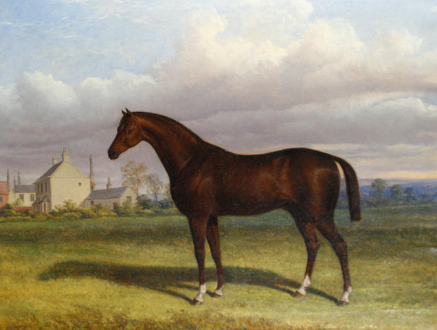 Follower of William Barraud (British, 1810-1850) A landscape with a bay horse