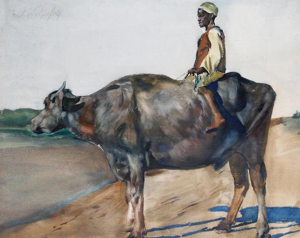 Erich Wolfsfeld (German, 1884-1956) A boy on a water buffalo