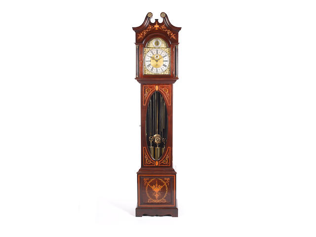 An early 20th century inlaid mahogany tubular chiming longcase clock Unsigned
