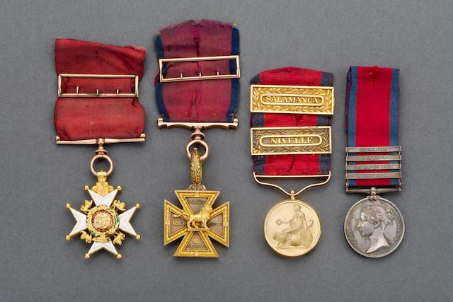 The superb Peninsula War group of awards to Major Thomas Bell, 48th Foot,