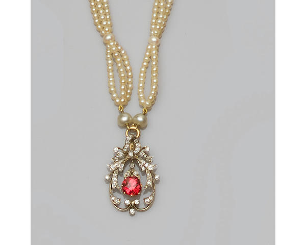 A red spinel, diamond and pearl choker necklace