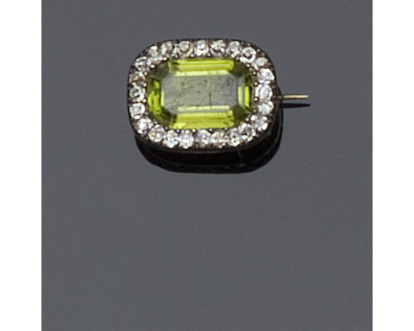 A Victorian peridot and diamond cluster brooch