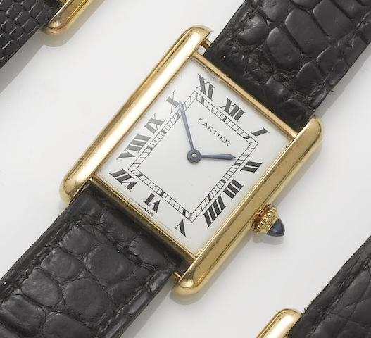 Cartier. An 18ct gold rectangular wristwatch  Tank, 1980's