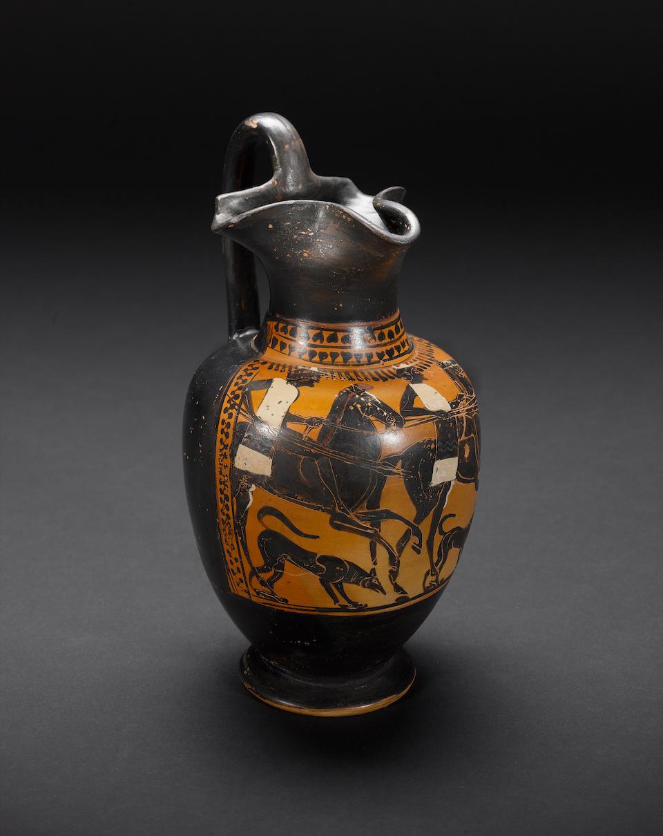 An Attic black-figure trefoil-lipped oinochoe