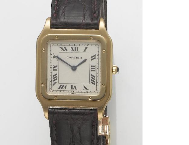 Cartier. An 18ct gold mid size wristwatch  Panther, 1990's