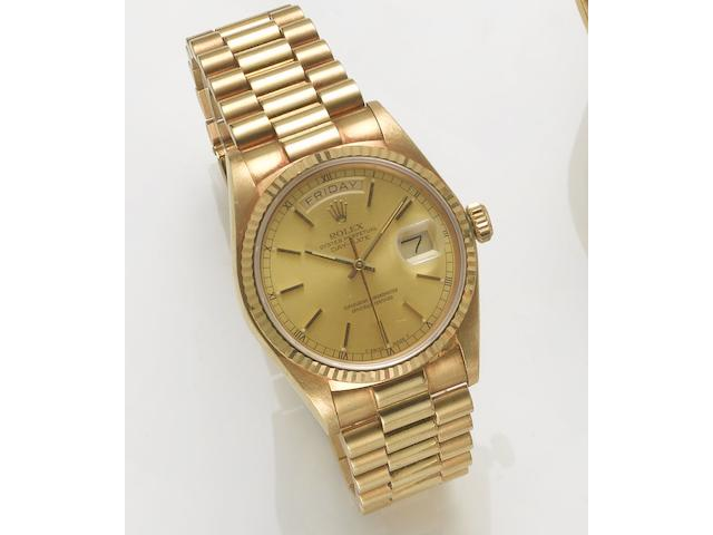 Rolex. A fine 18ct gold automatic centre seconds calendar bracelet watch Day-Date, 1980's