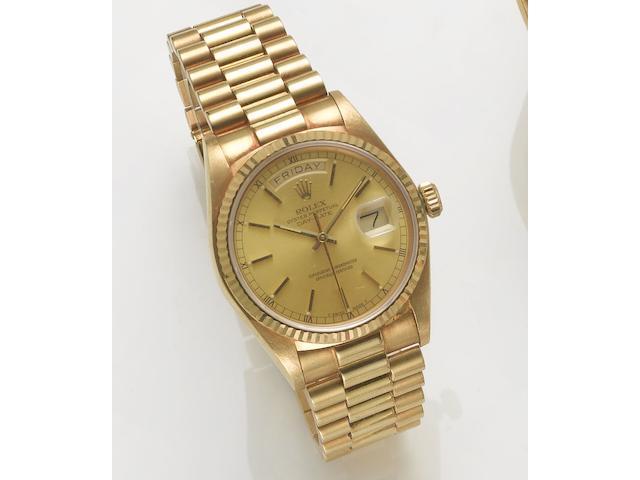 Rolex. A fine 18ct gold automatic centre seconds calendar bracelet watch Day-Date, 1980's