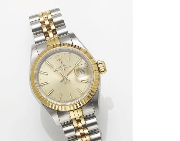 Rolex. A lady's stainless steel and gold automatic centre seconds calendar bracelet watch Date, 1984