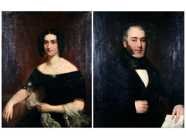 *English School circa 1830  Portrait of a lady and of a gentleman, a pair,