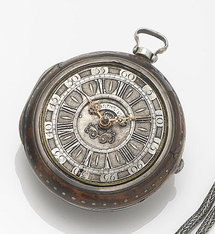 N.Cartwright, London.  A first half of the 18th century silver and tortoiseshell pair cased pocket watch  London Hallmark for 1744, No 2100