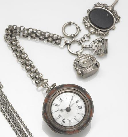 K. Richards. A late 18th century silver repousse and tortoiseshell pocket watch  London Hallmark for 1772