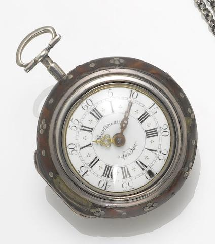Martineau, London. A mid 18th century silver  and tortoiseshell triple cased pocket watch