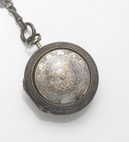 Josephson, London. A late 18th century silver calendar pair cased pocket watch  London Hallmark for 1770