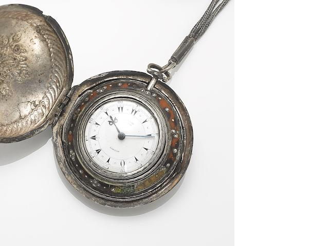 Edward Prior, London. An early 19th century silver and tortoiseshell quadruple cased Turkish market pocket watch  London Hallmark for 1839