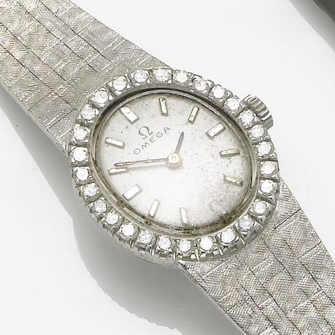 Omega. A lady's 18ct white gold diamond set bracelet watch 1970's