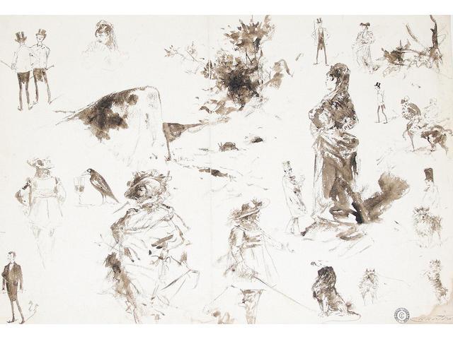 Théobald Chartran (French, 1849-1907) Various figure studies