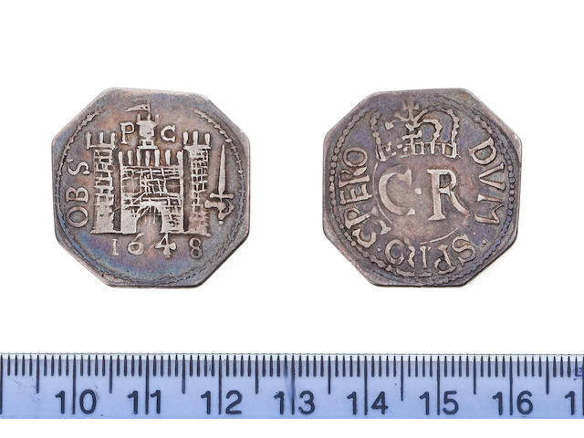 Charles I, Pontefract beseiged (June 1648-March 1648-9), Shilling, 1648, 5.0g, (octagonal), DVM: SPIRO: SPERO: around CR crowned,
