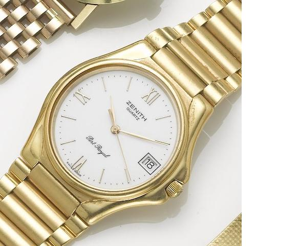 Zenith. An 18ct gold centre seconds calendar bracelet watch  Port-Royal, 1980's
