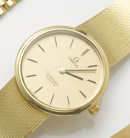 Omega. An 18ct gold bracelet watch with original papers Sold December 1st, 1980