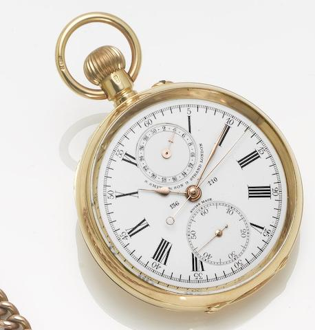 S. Smith & Son, London. An 18ct gold open face chronograph pocket watch London Hallmark for 1911