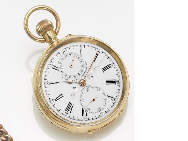 S. Smith & Son, London. An 18ct gold open face chronograph pocket watch  London Hallmark for 1911
