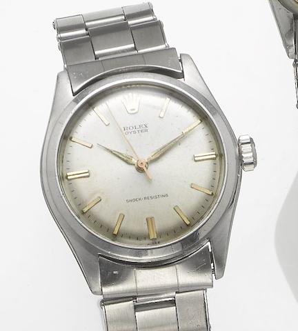 Rolex. A stainless steel centre seconds bracelet watch Oyster, Ref:4499, 1940's