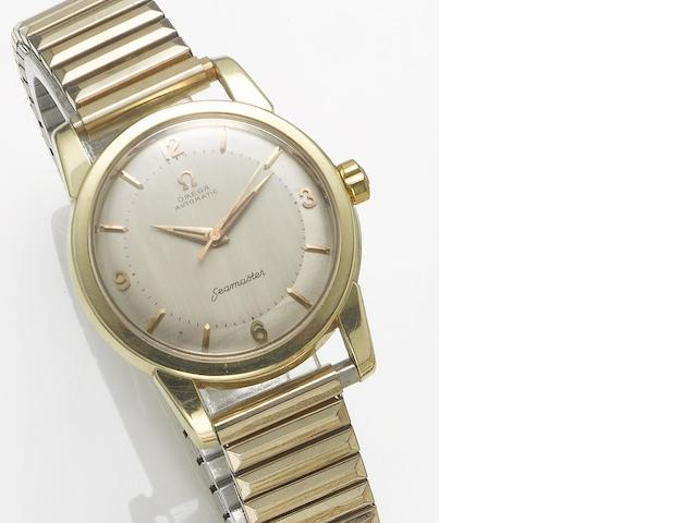 Omega. A gold plated automatic centre seconds bracelet watch  Seamaster, 1950's