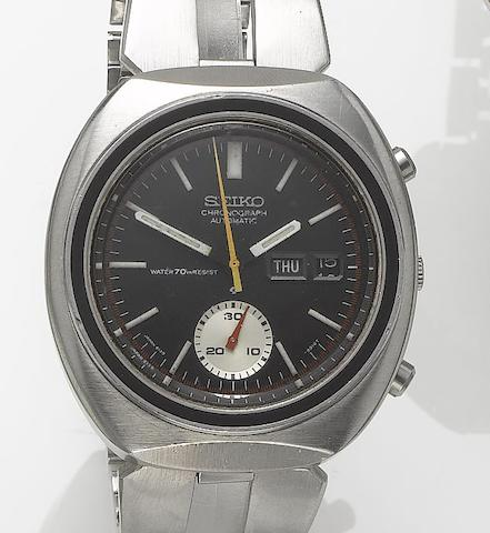 Seiko. A stainless steel automatic calendar chronograph bracelet watch  1970's