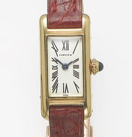 Cartier. A lady's 18ct gold wristwatch  Tank, 1990's