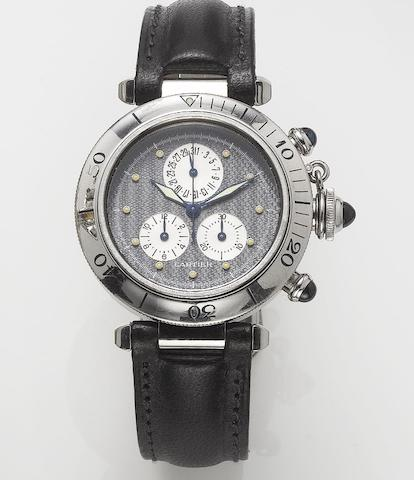 Cartier. A stainless steel chronograph calendar wristwatch  Pasha, recent