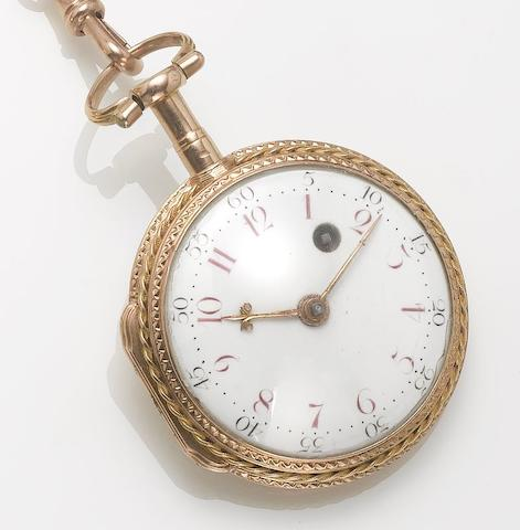 Swiss. An early 19th century three colour gold open face pocket watch