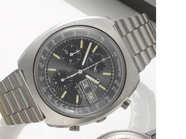 Omega. A stainless steel centre seconds calendar chronograph wristwatch Speedsonic, 1970's