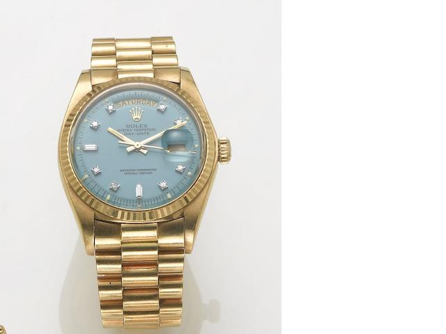 Rolex. A fine 18ct gold diamond set automatic centre seconds calendar bracelet watch Day-date, 1970's