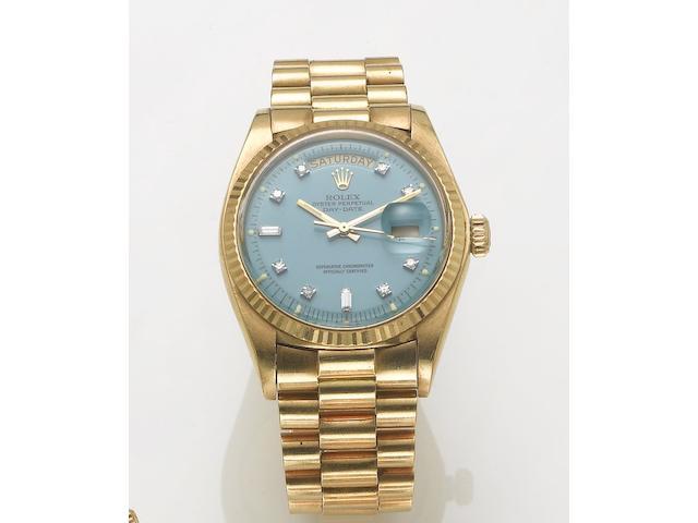 Rolex. A fine 18ct gold diamond set automatic centre seconds calendar bracelet watchDay-date, 1970's