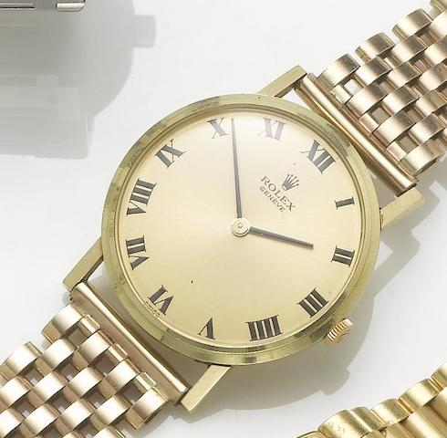 Rolex. A 9ct gold bracelet watch with fitted boxLondon Hallmark for 1976, sold January 1st 1981